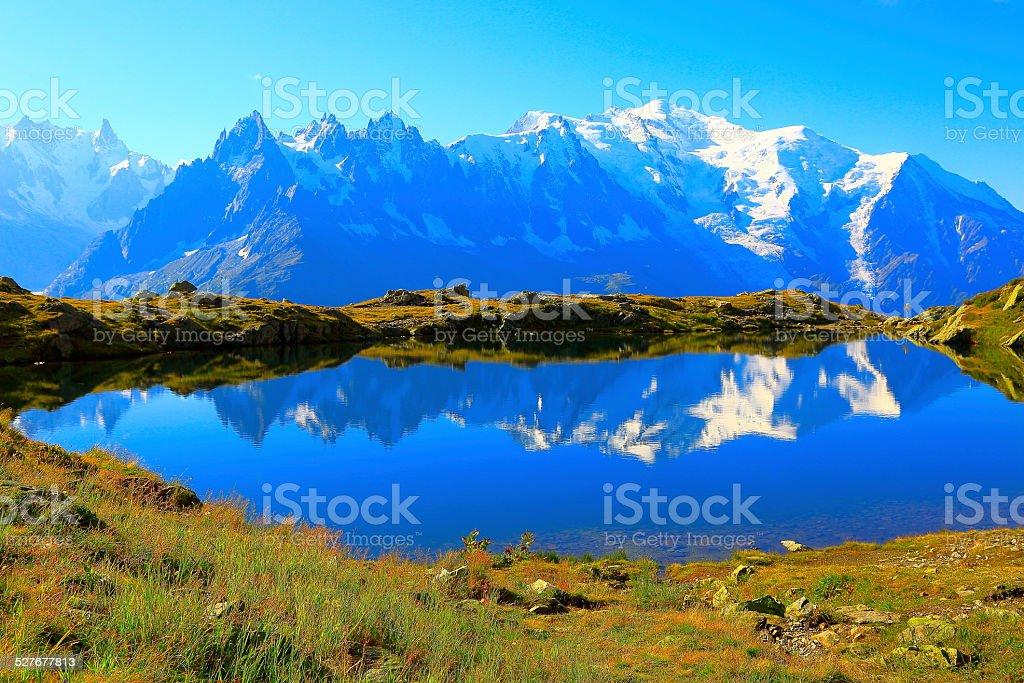 Mont Blanc reflection and lake Cheserys, Chamonix, French Alps stock photo