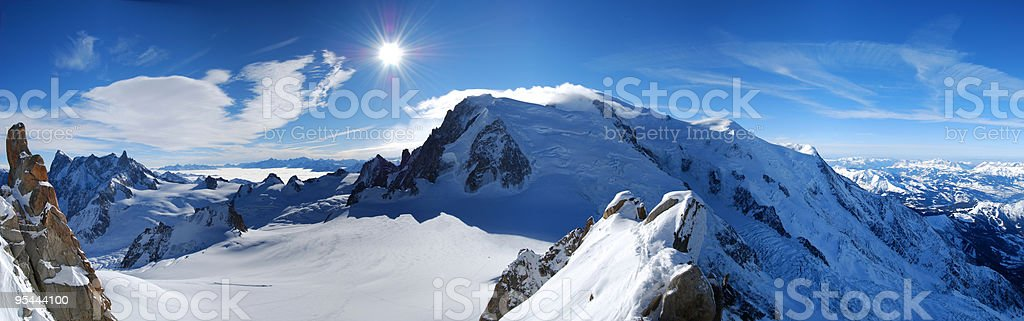 Mont Blanc seen from Aiguille du Midi stock photo
