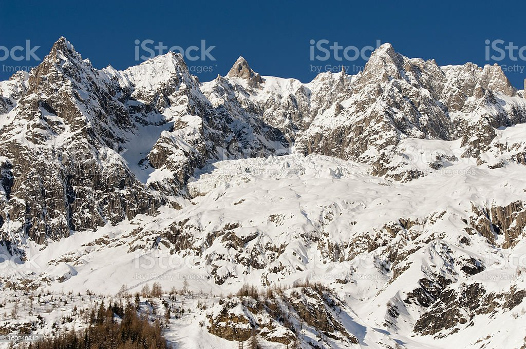 Mont Blanc seen from Val Ferret Courmayeur, Aosta Valley, Italy royalty-free stock photo