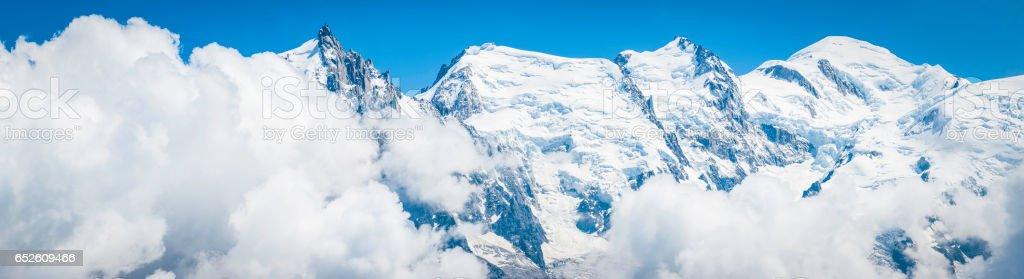Mont Blanc summit Aguille du Midi Alps mountain panorama Chamonix stock photo