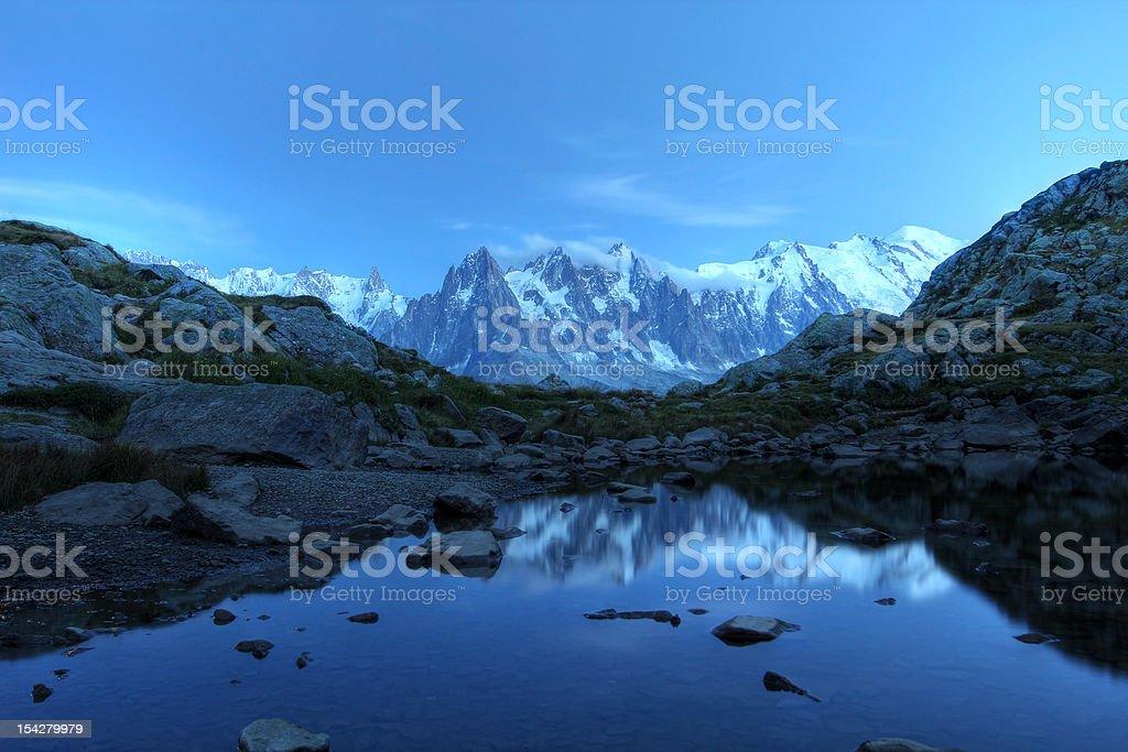 Mont Blanc under moonlight, Alps stock photo