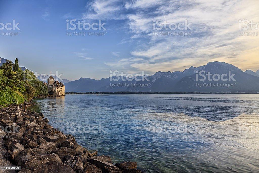 mont blanc with geneva lake stock photo