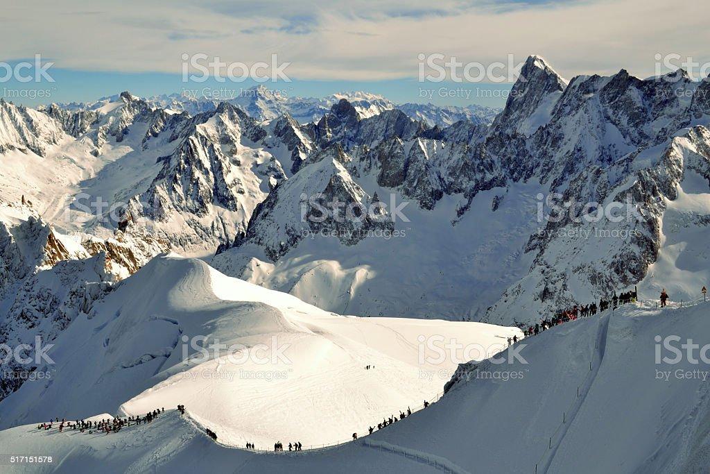 Mont blanc with mountain tourists stock photo
