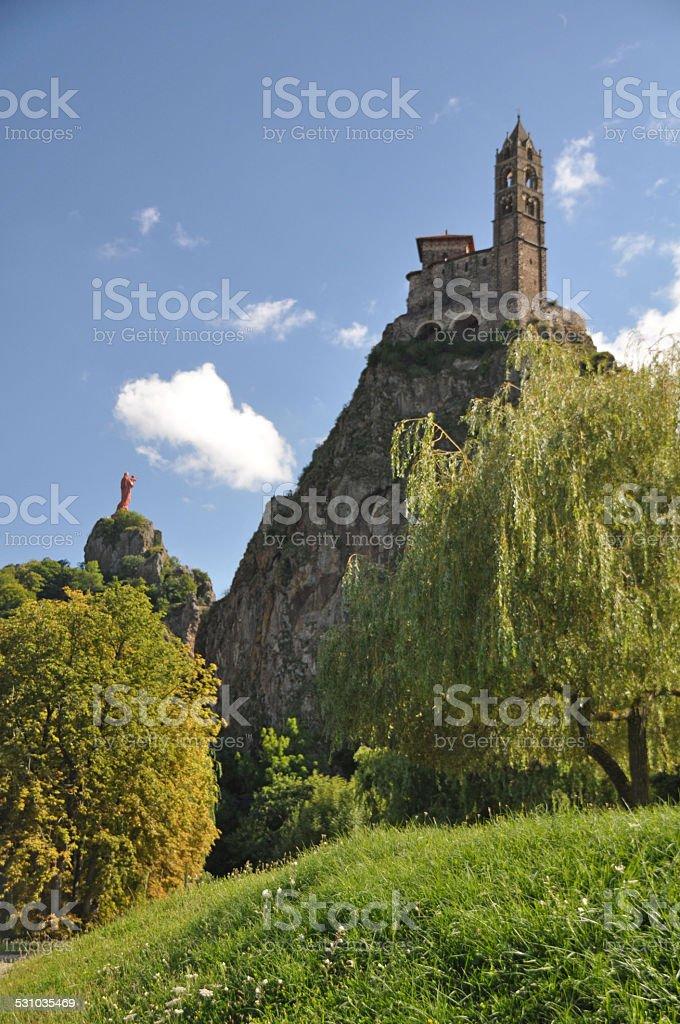 Mont d'Aiguilhe at Le Puy en Velay stock photo