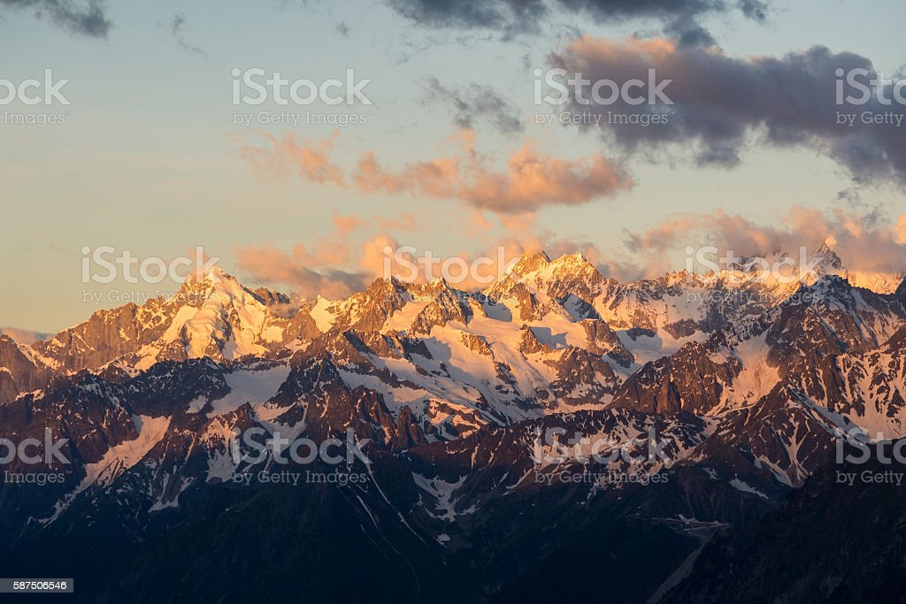 Mont Dolent sunrise colours stock photo