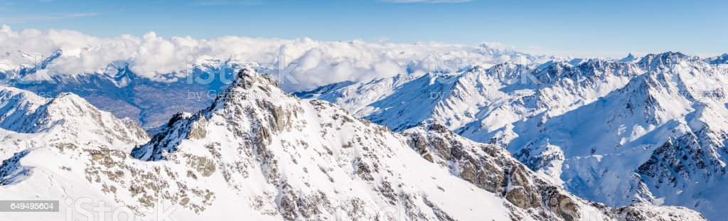 Mont Gele summit panorama winter stock photo