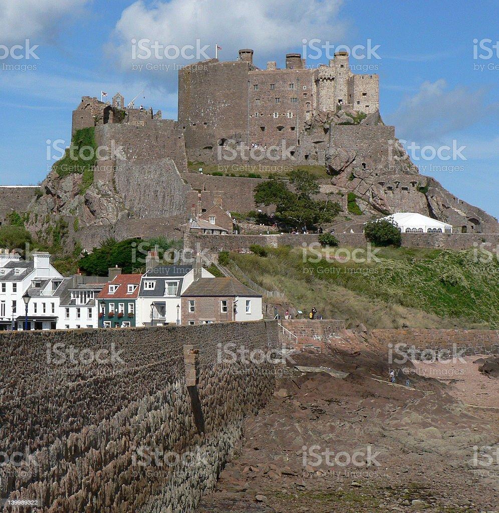 Mont Orgueil Castle above Gorey Harbour stock photo
