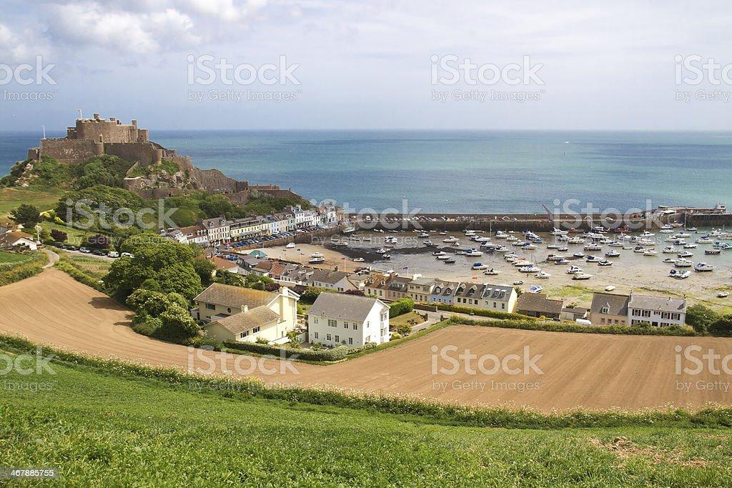 Mont Orgueil Castle in Gorey, Jersey, UK stock photo