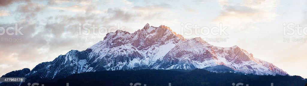 Mont Pilatus panorama at sunset Lucerne Switzerland pastel colors stock photo