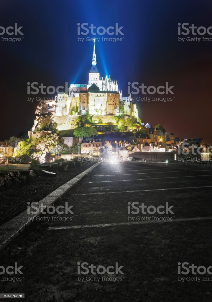 Mont Saint Michel in Normandy of Manche in evening stock photo