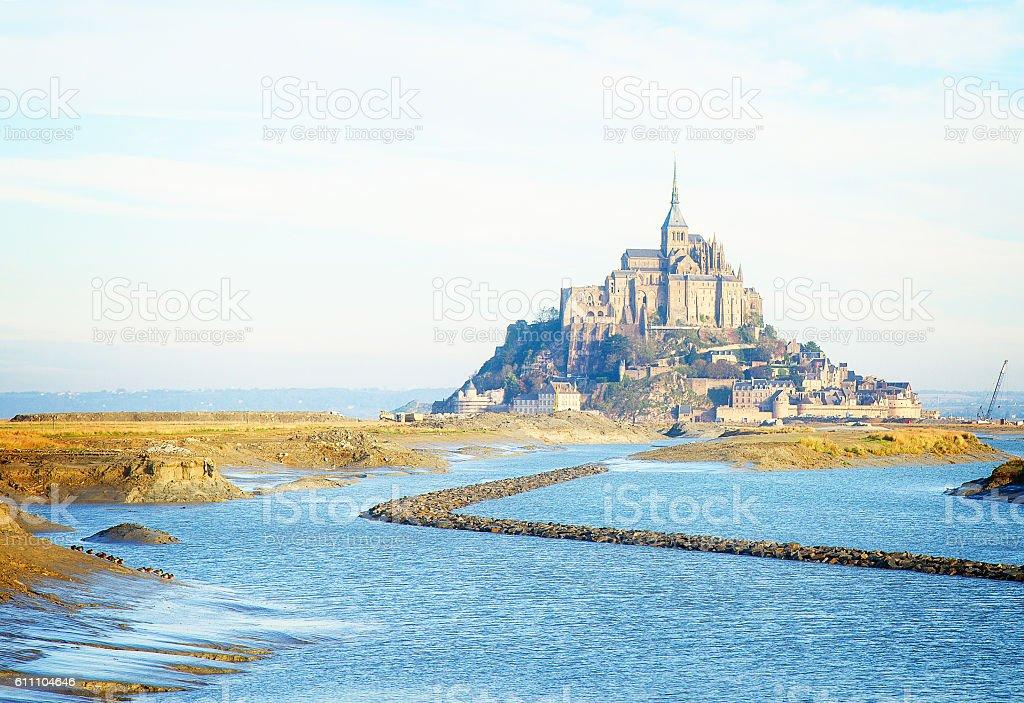 Mont Saint Michel over sea , France stock photo