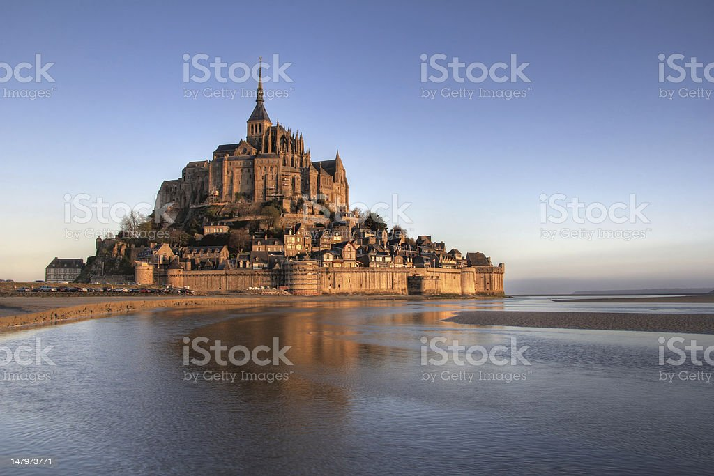 Mont Saint Michel reflection royalty-free stock photo