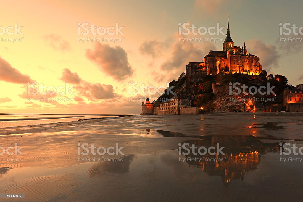Mont Saint Michel Reflections at Sunset stock photo
