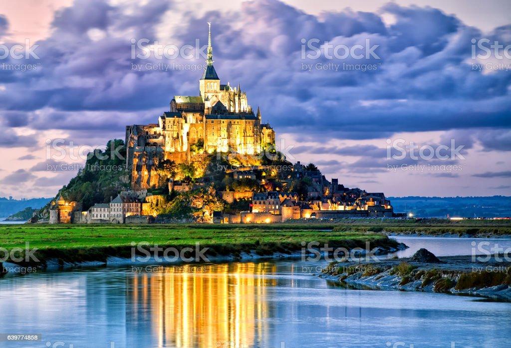 Mont Saint-Michel, France, on sunset stock photo