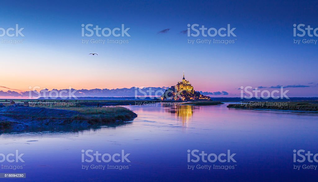 Mont Saint-Michel in twilight at dusk, Normandy, France stock photo