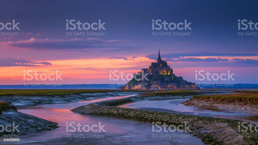 Mont Saint-Michel view in the sunset light. Normandy, northern France stock photo