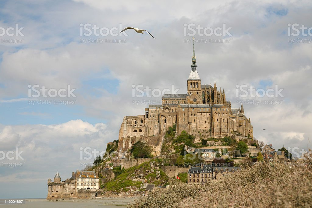 Mont Saint-Michel with Seagull royalty-free stock photo