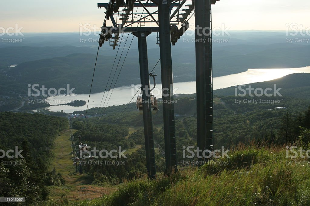 Mont Tremblant and cable car stock photo