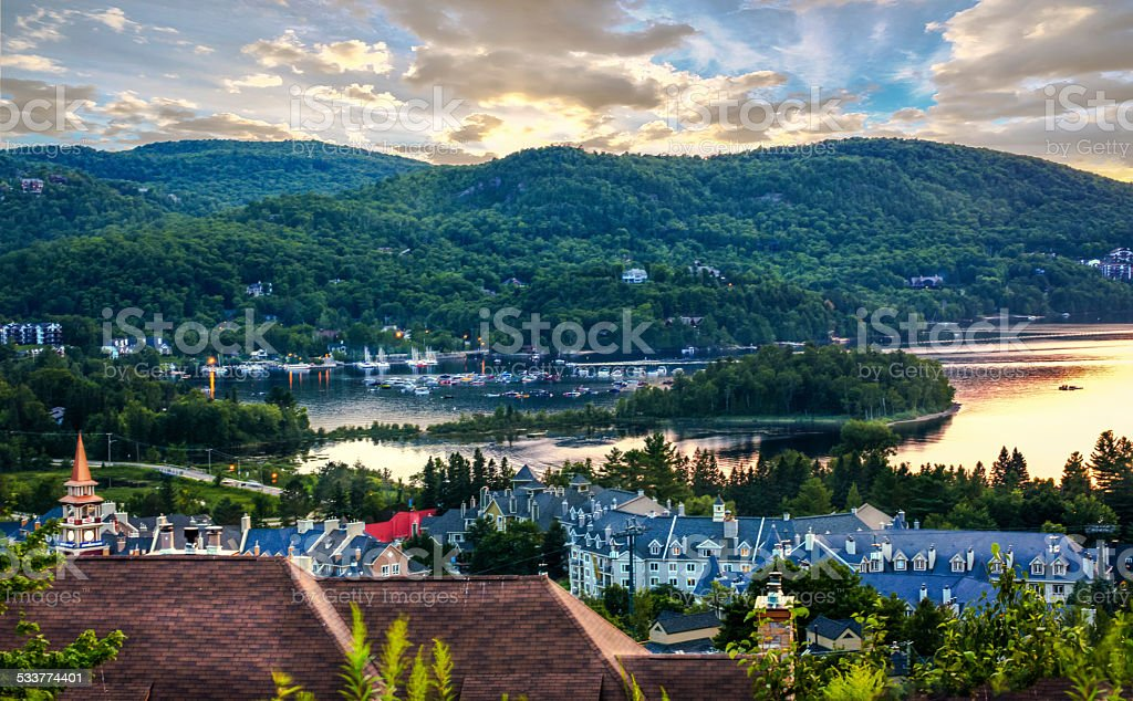 Mont tremblant in sunset. stock photo