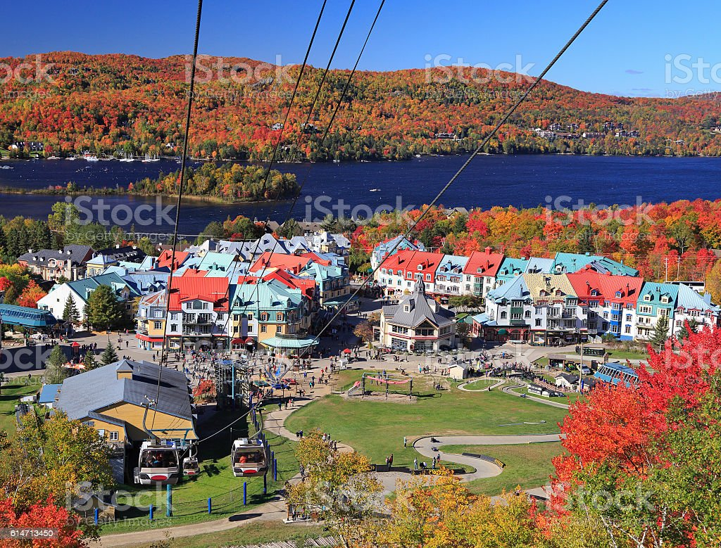 Mont Tremblant lake and village in autumn stock photo