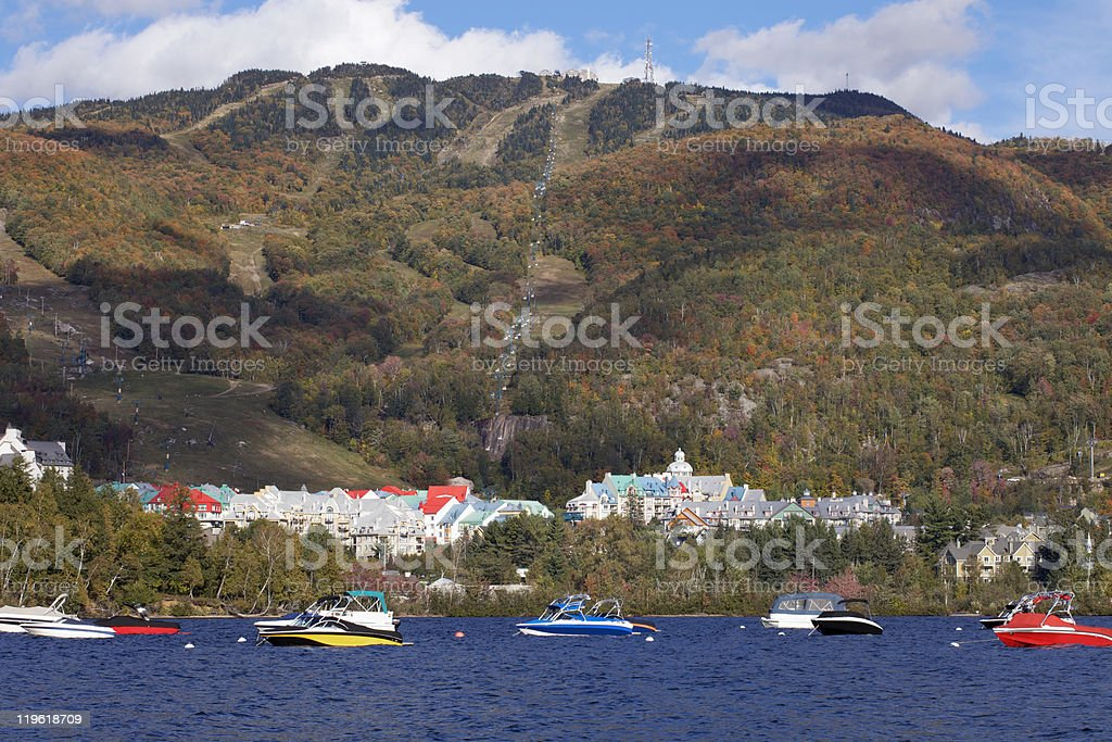 Mont Tremblant Lake and village resort in autumn royalty-free stock photo
