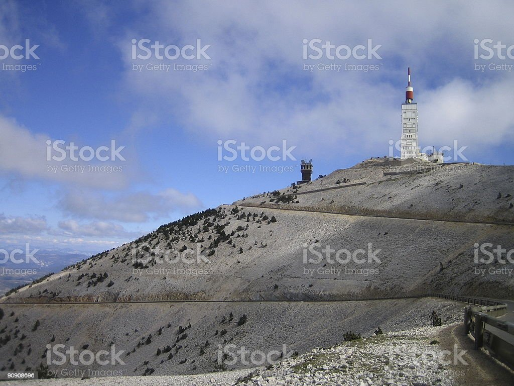 Mont Ventoux in wind and clouds stock photo