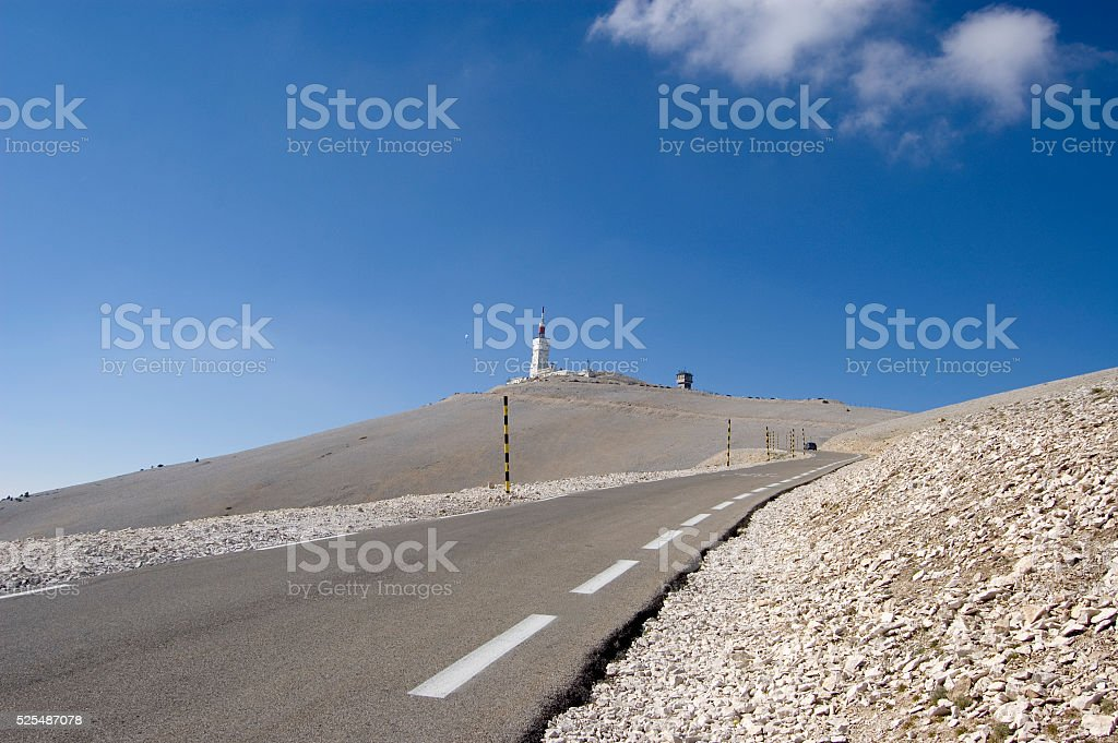 Mont Ventoux road climb with parascender stock photo