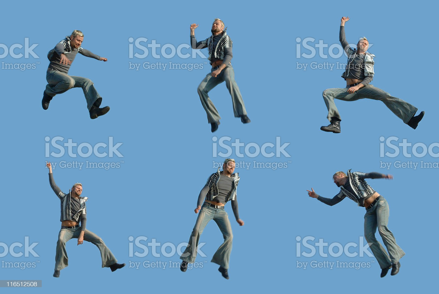 Montage of a man in six different jumping positions royalty-free stock photo