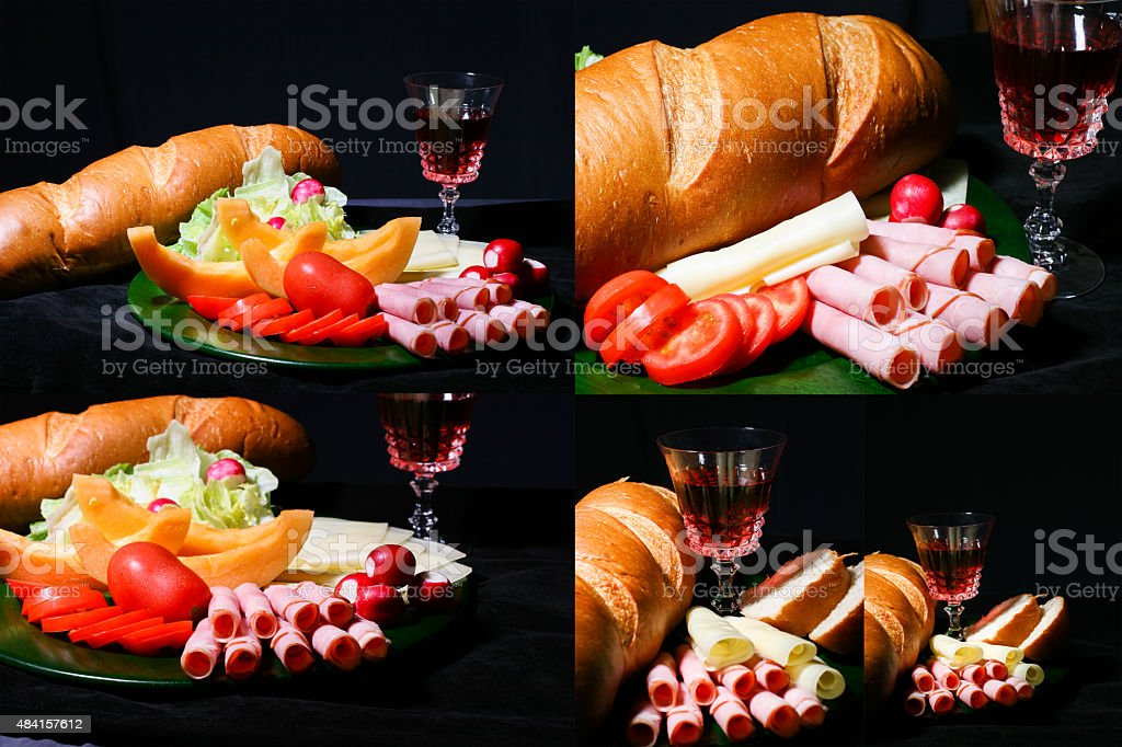 Montage of appetizer trays. Wine and cheese plates with bread. stock photo