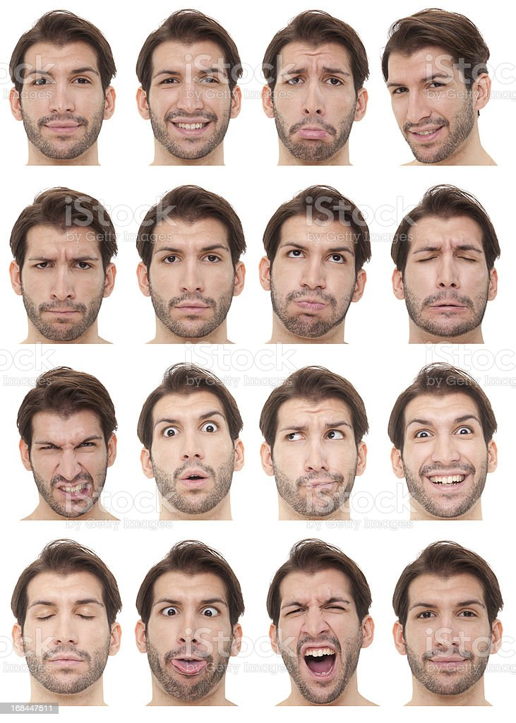 Montage of bearded young man's face with 16 expressions stock photo