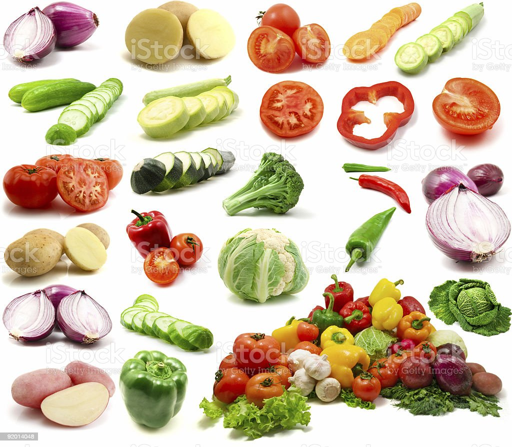 A montage of colorful vegetables on a white background royalty-free stock photo