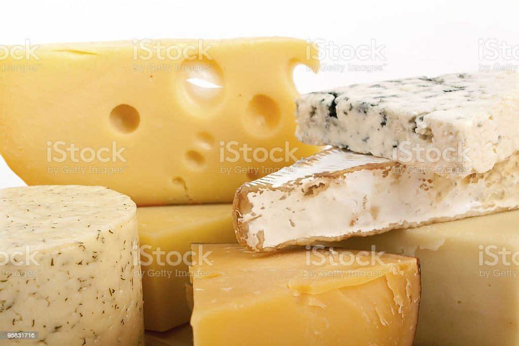Montage of different continental cheeses royalty-free stock photo