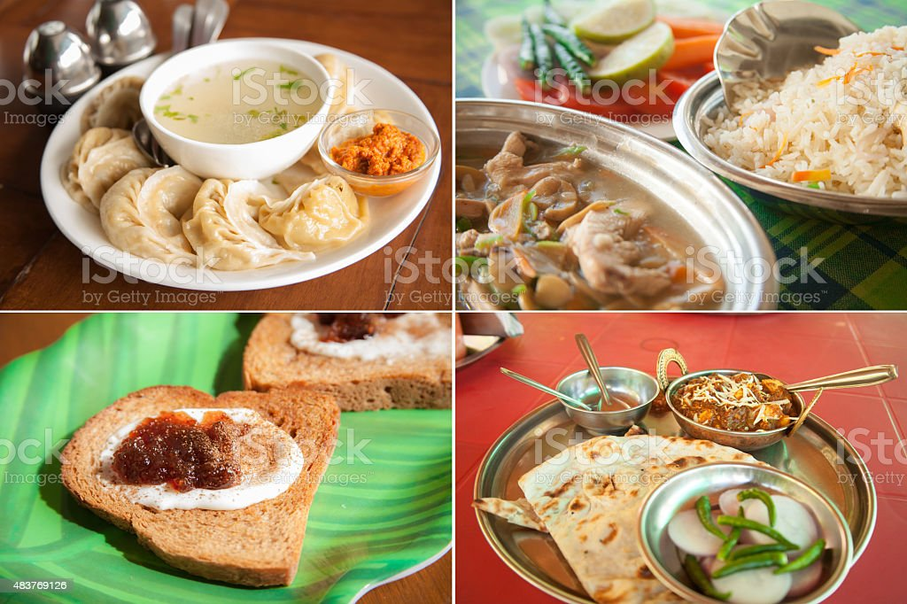 Montage of four traditional Indian food dishes. India culture. stock photo