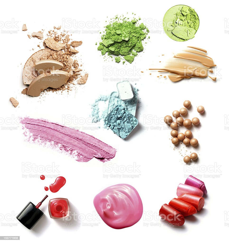 Montage of makeup products tested on a background royalty-free stock photo