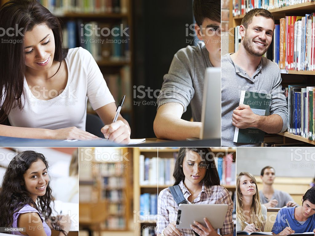 Montage of pictures showing various students stock photo