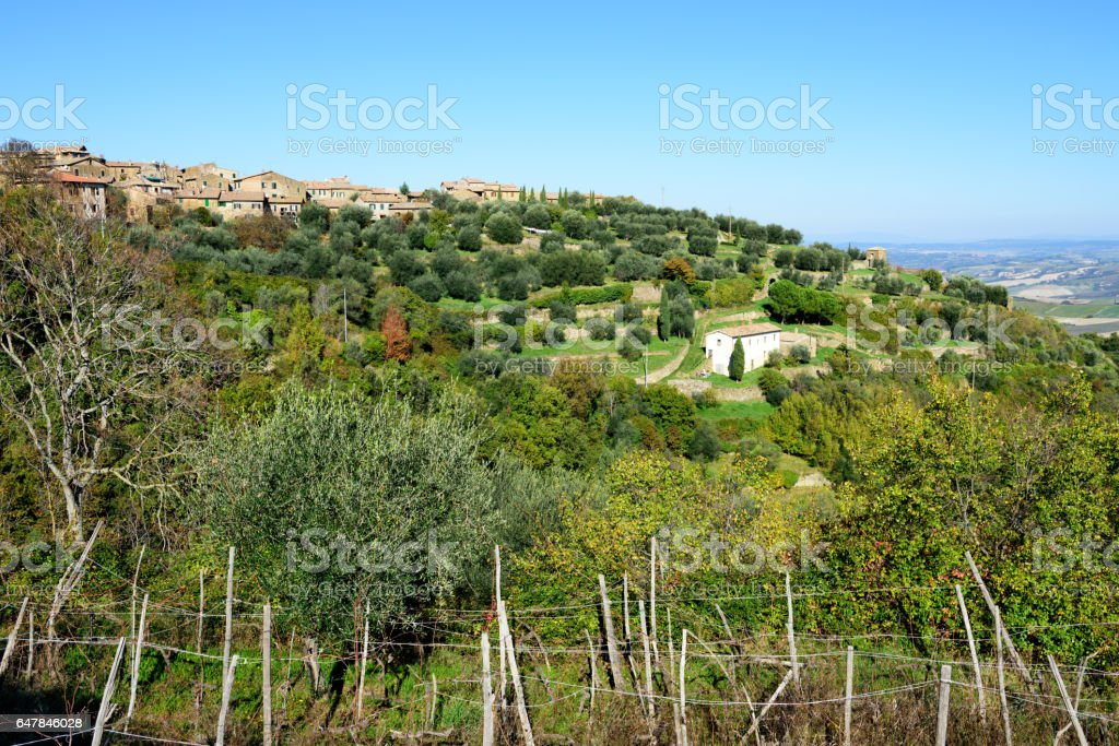 Montalcino and Tuscan countryside, Italy stock photo