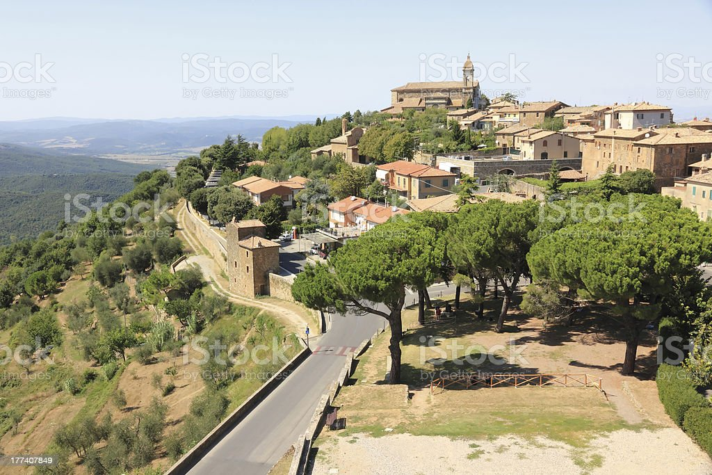 Montalcino, hill. Tuscany, Italy stock photo