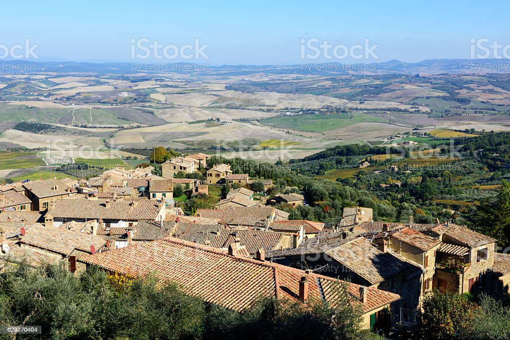 Montalcino rooftops  in Tuscany, Italy stock photo