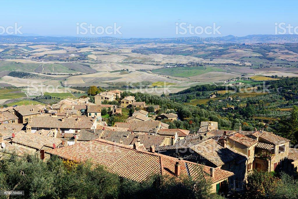 Montalcino rooftops  in Tuscany, Italy stock photo