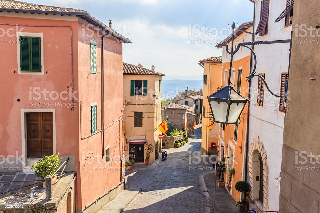 Montalcino street stock photo
