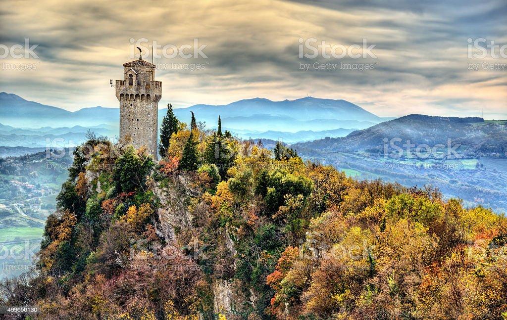 Montale, the Third Tower of San Marino stock photo