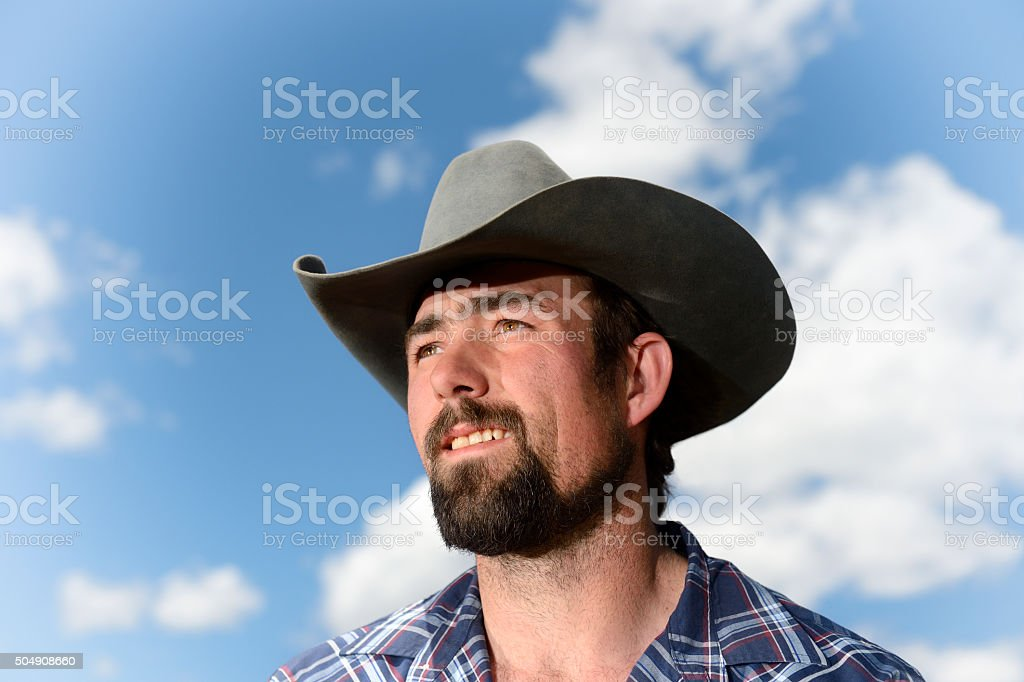 Montana Cowboy - Closeup stock photo