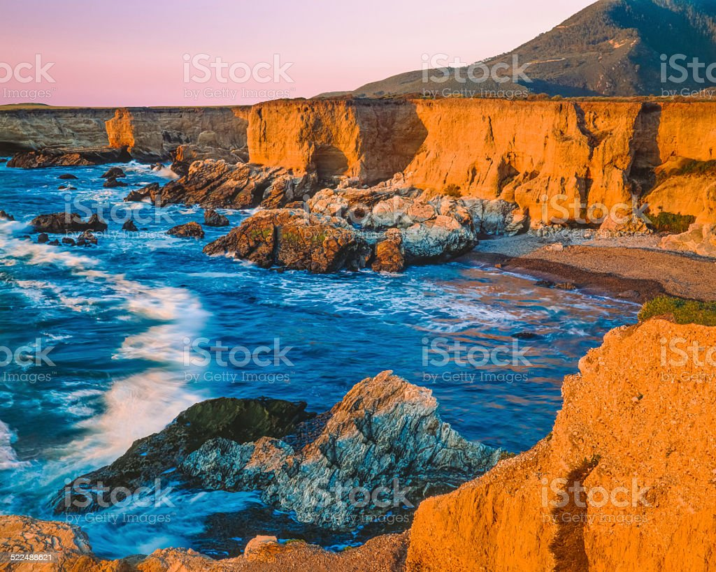 Montana De Oro State Park shoreline,breaking surf, CA(P) stock photo