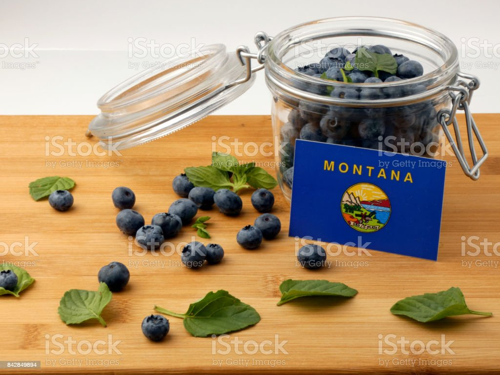 Montana flag on a wooden plank with blueberries isolated on white stock photo