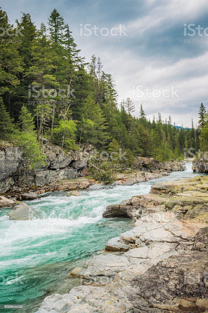 Montana Landscape in Glacier National Park River Scenic Nature Backgrounds stock photo