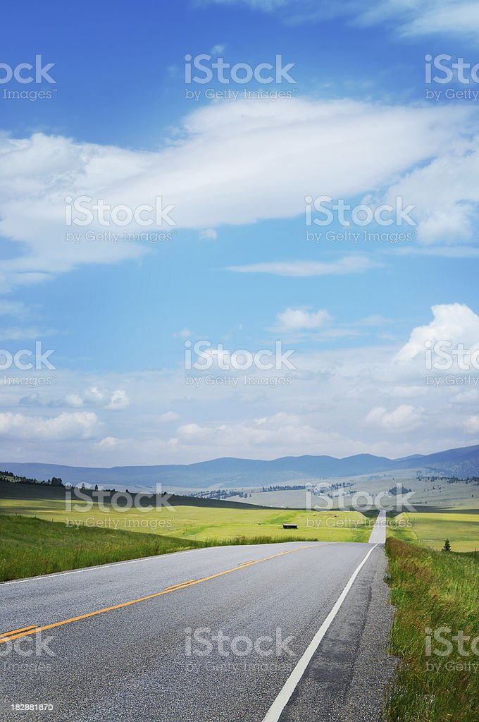 Montana road in summer stock photo