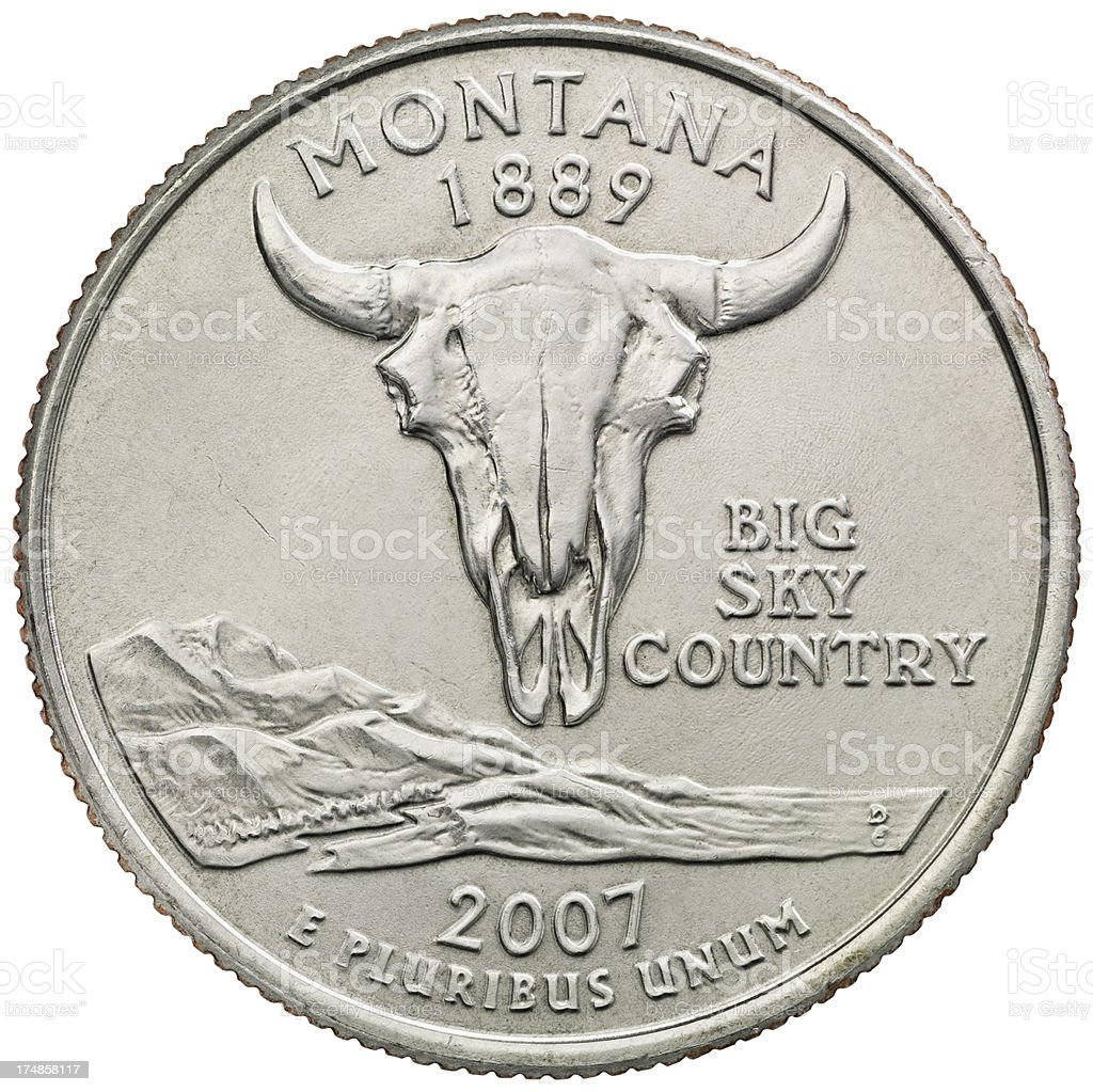 Montana State Quarter Coin royalty-free stock photo