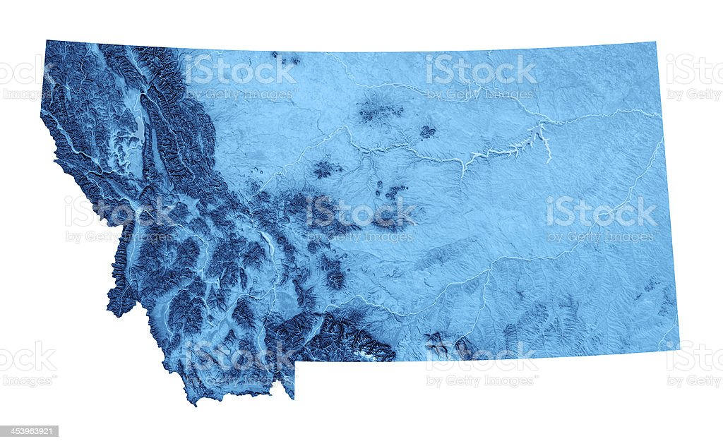 Montana Topographic Map Isolated stock photo
