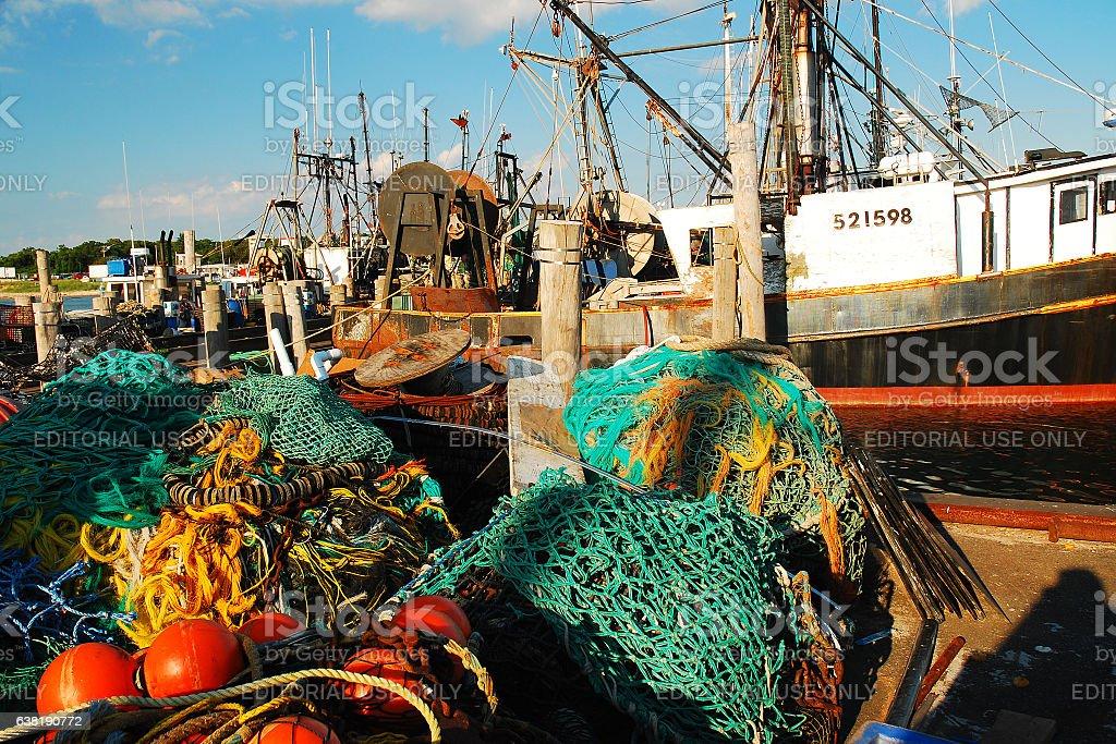 Montauk Commercial Fishing Harbor stock photo