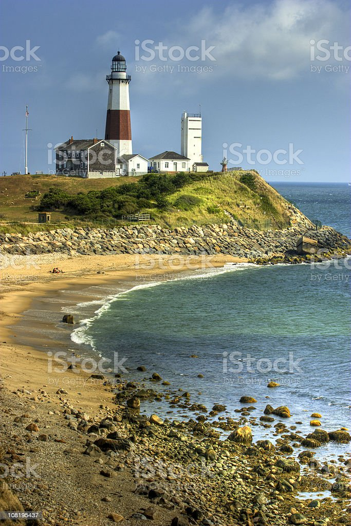 Montauk Lighthouse and Harbour stock photo
